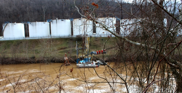 across the Elk River from the site of the spill on Jan. 12.